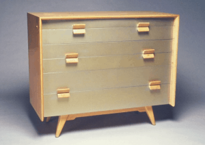 Jens Risom (American, born Denmark, 1916). Chest-of-Drawers, ca. 1955. Pickled oak, silver lacquer,