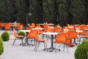 Robin & Lucienne Day Foundation, Orange polyprop chairs